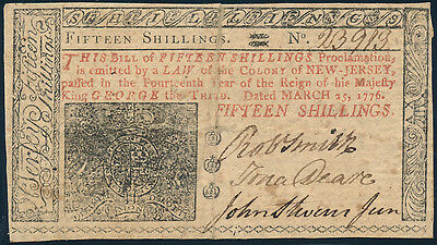Nj-180 New Jersey Colonial Currency 15 Shillings Issued 3-25-1776 Vf-Xf Bp8906