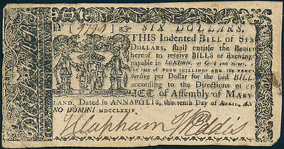 Md-69 Maryland Colonial Currency Xf-Au $6.00 Issued April 10,1774 Bp8915