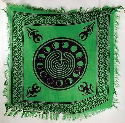 MOON PHASE LABYRINTH ALTAR CLOTH - Wicca Pagan Witch Goddess Punk Goth Charmed