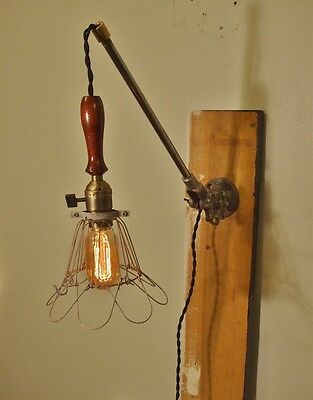 Vintage Industrial Cage Lamp Sconce - Wall Mount Trouble Lamp with Arm
