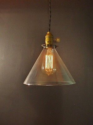 Vintage Industrial Hanging Light with Glass Cone Shade -Machine Age Pendant Lamp