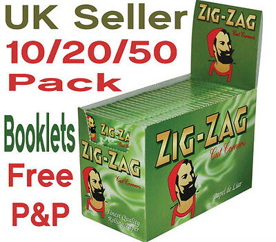 Zig Zag Green Rolling Papers Standard/Regular Size Choose From 10/20/50 Booklets