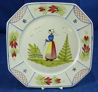 Quimper MISTRAL-BLUE Dinner Plate Octagonal Lady Center GREAT CONDITION