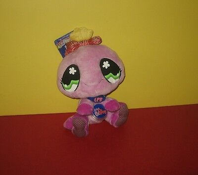 "New Hasbro 8"" Littlest Pet Shop Baby Purple Spider Plush w/ Red Swirl Bow & Code"