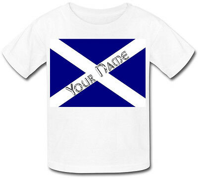 Scottish / Scotland Flag Personalised Kids T-Shirt -Great Gift For Any Child