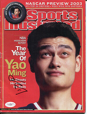 Yao Ming Signed Sports Illustrated 2003 No Label Autographed JSA #E52960
