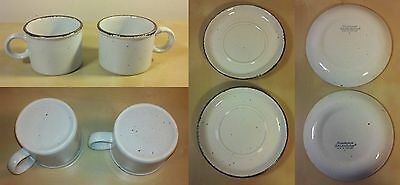 LOT 2 Stonehenge Midwinter Mugs + 2 Saucers  ENGLAND    RARE BROWN SPECKLE
