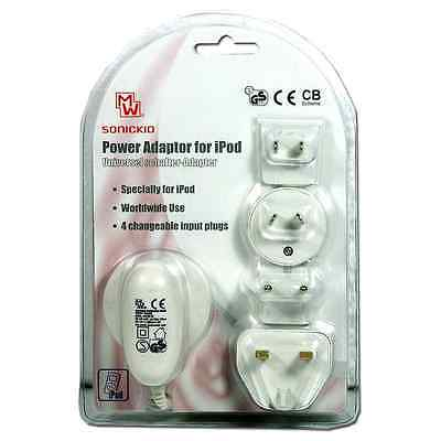 POWER ADAPTER FOR iPOD IN WHITE - 4 CHANGEABLE PLUGS