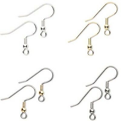 Huge Lot of 1,000 Ball & Coil Fishhook Earring Findings Plated Surgical Steel