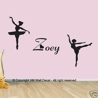 PERSONALISE name-2 BALLERINA wall sticker-great gift for some one desire special