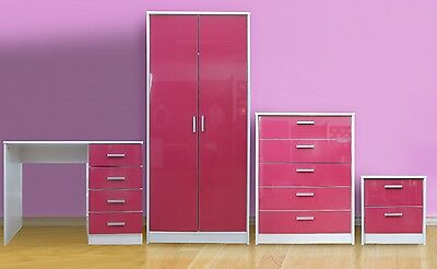 High Gloss Bedroom Furniture Set Wardrobe Chest Bedside Study Dressing Table