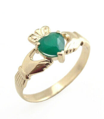 Claddagh Ring 9ct Gold with Green Agate Heart