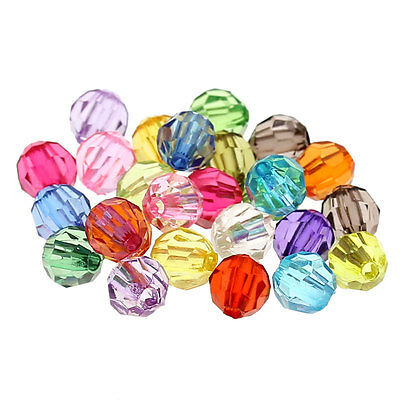 "500PCs Mixed Acrylic Faceted Round Spacer Beads Jewelry Making 6mm(2/8"") Dia."