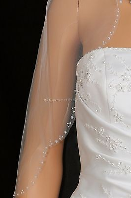 1T White Elbow Length Scalloped Beaded Edge Bridal Wedding Veil