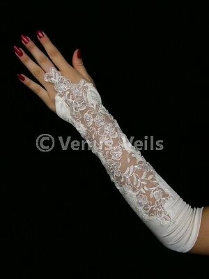 "14"" White Wedding Party Fingerless Pearl Gloves Gl212W"