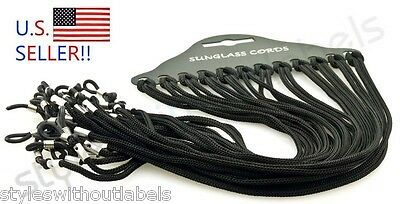 12 pack - Sunglass Straps/Cords/Strings/Lanyard Wholesale Lot - All Black