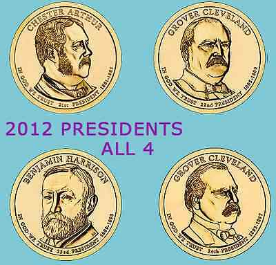 2012-P All 4 Presidential Golden Dollars Set From Original Mint Roll Uncirclated