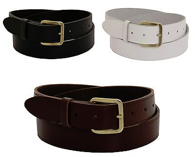 """New Mens Real Leather Belts Genuine Belt Sizes 28-52"""" Waist in Black Brown White"""