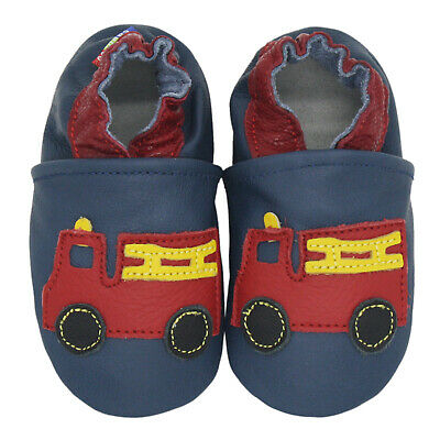 carozoo fire truck dark blue 6-7y soft sole leather kids shoes