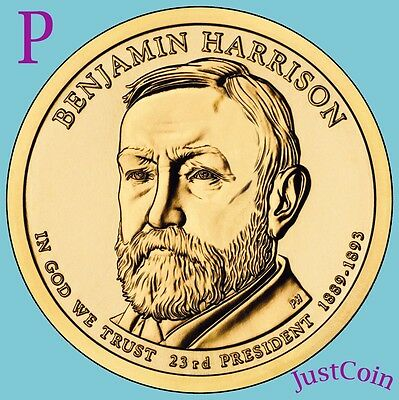 2012-P Benjamin Harrison Golden Presidential Dollar From Mint Roll Uncirculated