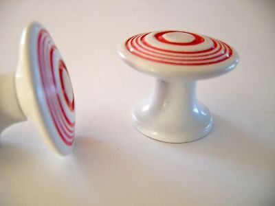 Vtg NOS 40's KNOBS WHITE &RED concentric circles rings Drawer Door Pulls AMEROCK