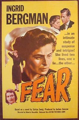 FEAR Orig Pressbook COMPLETE 1956 Press book art of Ingrid Bergman close up art