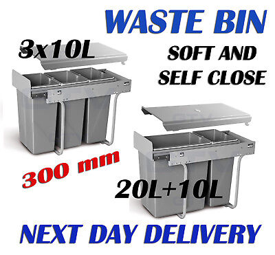 WASTE BIN CARGO PULL OUT RECYCLE BIN KITCHEN SOFT AND SELF CLOSE 300mm