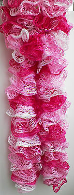 Handmade Knitted Frilly Lacy Boa Scarf; Color: Tutu