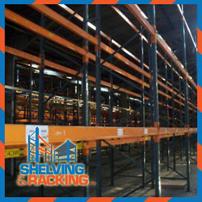 Used Pallet Racking 3 bays 5m H x 900mm D 2.7m W x 2 Levels x 2 T