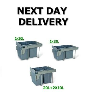 CARGO PULL OUT RECYCLE BIN KITCHEN FRONT FIX WASTE BIN SOFT AND SELF CLOSE 450mm