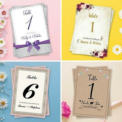 Wedding Table Numbers Table Names Personalised Stationery