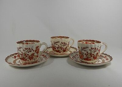 Spode Indian Tree Set of 3 Cups and Saucers