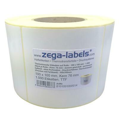 Thermotransfer Etiketten Rolle - 100 x 100 mm - 1.000 Stck - Kern76mm - Zebra ZM