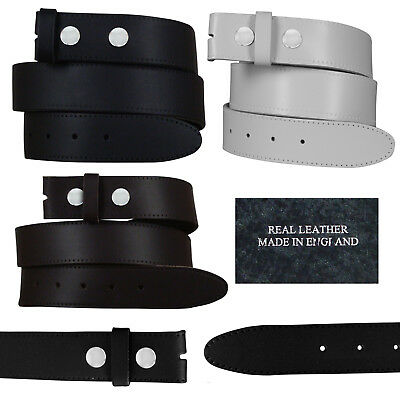"New Mens Real Leather Snap On Belts Black Brown White No Buckle Sizes 28"" - 52"""
