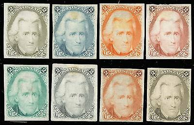 73TC, 8 DIFF TRIAL COLOR PROOFS INDIA PAPER Cat $2,000.