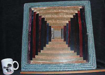 Authentic Bob Self Tramp Art Frame Antique Mohair Nine Patch Center Quilt Sample