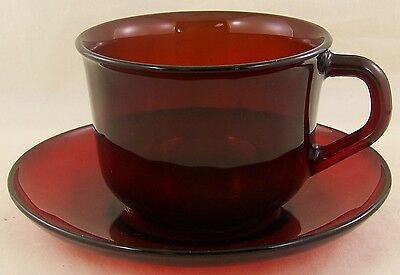 Cup and Saucer Ruby Red Beautiful color ARCOROC UP to 10
