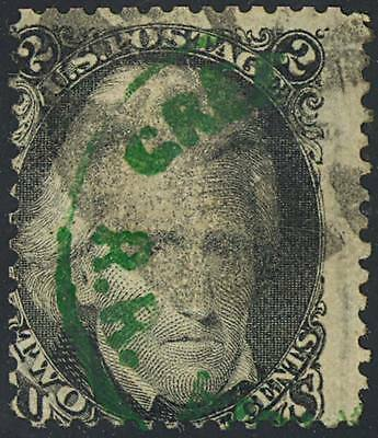 73 Var, EXTREMELY RARE GREEN RAILROAD CANCEL