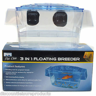Aquarium Fish Breeding Tank/Fry Trap Hatchery - 3 In 1 PPI Floating Breeder