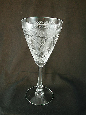 Heisey DUQUESNE #3389 Normandie Etch #480 Footed 9 oz. GOBLET Crystal Glass