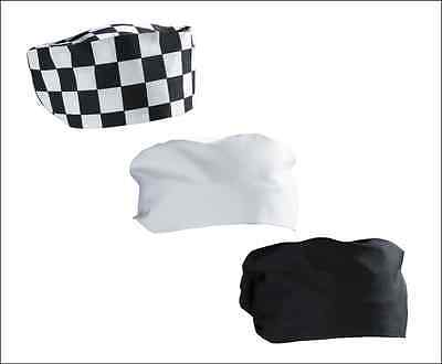 Chef's Hat, Beanie/Skull Cap, Headwear, Black, White or Check Patterned, Hygiene