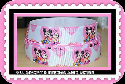 INCH BABY MICKEY AND MINNIE WITH HEARTS ON WHITE GROSGRAIN RIBBON- 1