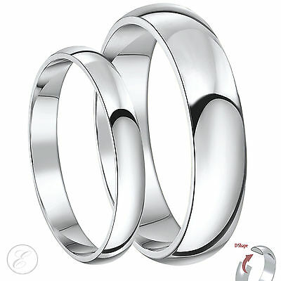 New His & Hers Palladium 950 D Shaped Wedding Ring Bands 3&5mm 4&6mm