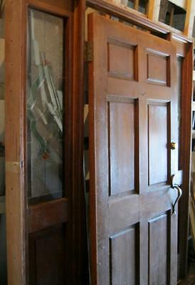Antique Style Entrance Door With Surround Stained Glass Side Lights  #1448-13
