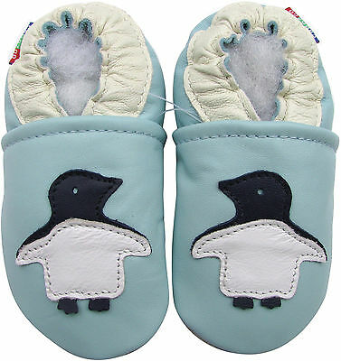 carozoo penguin light blue 12-18m soft sole leather baby shoes
