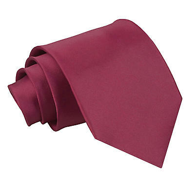 New DQT Men's Plain Burgundy Satin Extra Long Tie