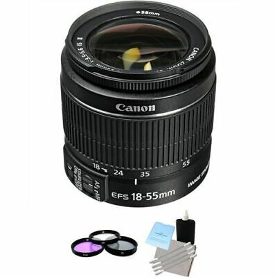 Canon EF-S 18-55mm F/3.5-5.6 II IS Lens + 3 Piece Filter Kit & Lens Cleaning Kit