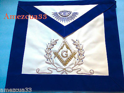 Master Mason Blue Lodge Apron Silver  Bullion with Wreath