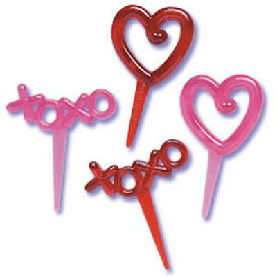 VALENTINE XOXO & HEARTS CUPCAKE PICKS Cake Decorations Toppers Valentines Day 24