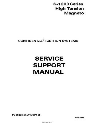 Continental High Tension Magnetos Service Support Manual X42001-2